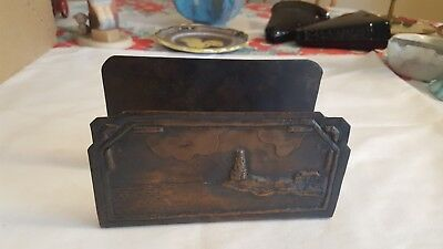 Vintage Arts and Crafts Copper Letter Holder - Lighthouse and Seashore