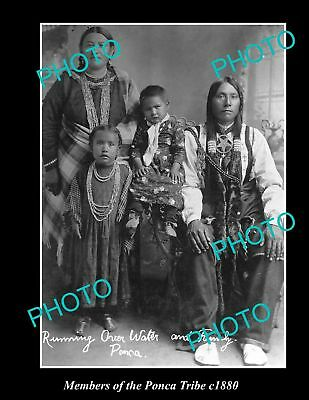 OLD LARGE HISTORIC PHOTO OF AMERICAN INDIAN FAMILY OF THE PONCA TRIBE, c1880