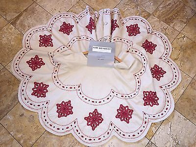 NWT 595 Kim Seybert Neiman Marcus Embroidered Beaded Christmas Tree Skirt 58