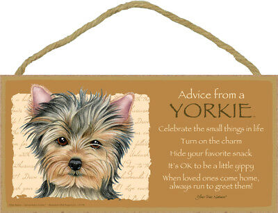 """Advice from a Yorkie Sign Plaque Dog 10"""" x 5"""" gift"""