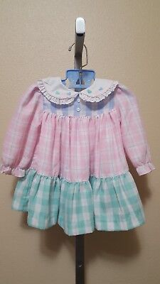 Vintage Infant Girl Unbranded Big Plaid Check Ruffle Twirl Dress Size 12 M
