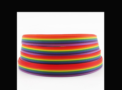 "Rainbow Ribbon 9mm wide  3/8"" 1m Long"