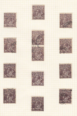 KGV 1 1/2d Black/Brown Large Multi. WMK Selection of 13 Good to Fine Used
