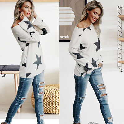 2017 Women One Shoulder Star Print Shirt Loose Casual Long Sleeve Tops Blouse