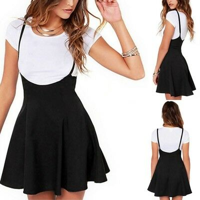 US Women Mini Suspender Skater Skirt High Waisted Pleated Adjustable Strap Dress