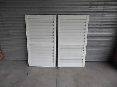A Pair of Timber Internal White Plantation Shutters Room Dividers etc