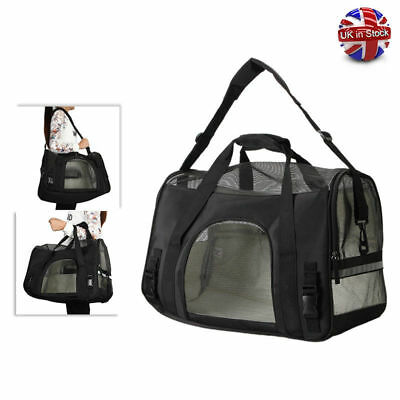 New Pet Carrier Cat Dog Portable Travel Carry Tote Cage Shoulder Bag Black UK