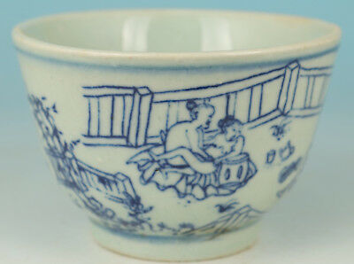 Chinese Old Porcelain Collect Handmade Painting Belle Statue Wine Tea Cup Bowl