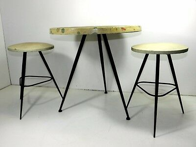 Mid-Century COFFEE-TABLE Tavolino + 2 sgabelli Italian Design 50's  Italy