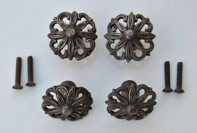 4pcs VTG Floral Cut Cast Iron cabinet drawer door Knobs handles pull rustic 1.5""