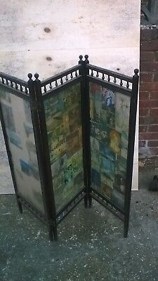 victorian screen folding 3 panel glass  collect Petersfield A3m 38cm x3 110cmtal