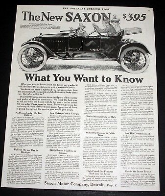 1914 Old Magazine Print Ad, The New Saxon Touring Car, What You Want To Know!