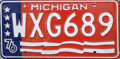 USA Number Licence Plate MICHIGAN 1976  STARS & STRIPES **NEW OLD STOCK**