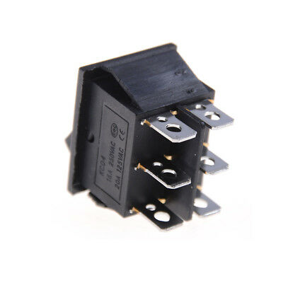 2x KCD4 Rocker Switch Black DPDT ON/OFF/ON 6 PIN 16A/250VAC 20A/125VAC GY