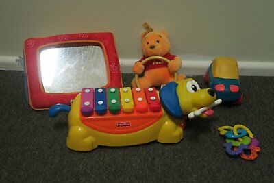 Fisher Price 2002 Xylophone Dog + Lamaze Mirror + Pooh Bear + Car + Rattle
