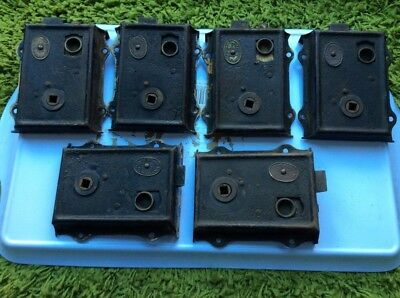 SET OF 6 MATCHING VICTORIAN RIM LOCKS - SUPERIOR PALACE ACTION PATENT - 1880s
