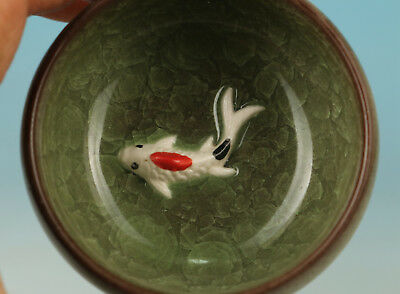 Chinese Old Porcelain Collection Handmade Carved Fish Statue Bowl Tea Cup
