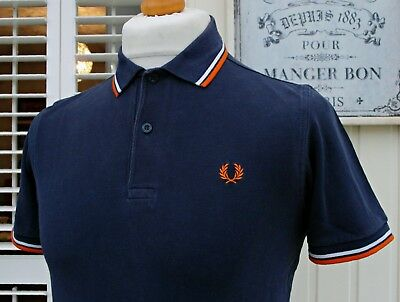Fred Perry M1200 Navy Twin Tipped Polo - S/M - Casuals Ska Mod Scooter Skins