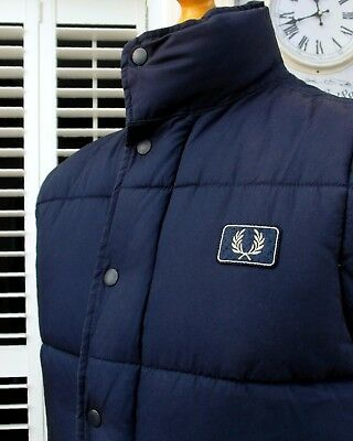 Fred Perry Navy Insulated Quilted Gilet - S/M - Youth XL - Ska Mod Scooter Skins