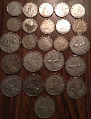 Big Lot Of Silver Canada 25 Cents And 10 Cents Quarters And Dimes 24 Coins Total