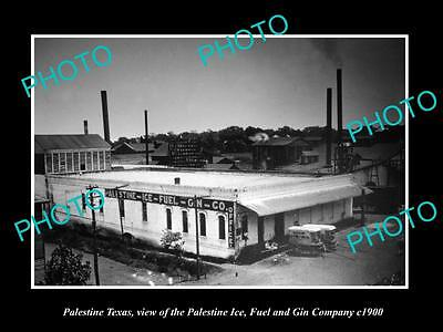 OLD LARGE HISTORIC PHOTO OF PALESTINE TEXAS, THE ICE FUEL & GIN COMPANY c1900