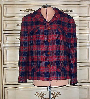 MILGRIM Women's Vintage 1940s 1950s Wool Red Blue Plaid Short Lined Jacket M/L