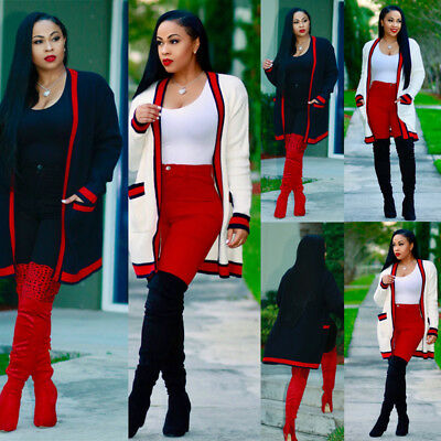 Womens Long Sleeve Slouchy Cardigan Open Front Draped with Pockets Midi Length