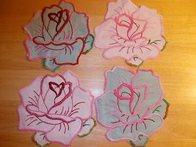 """Four Vintage Linen Embroidered  6"""" Doilies"""