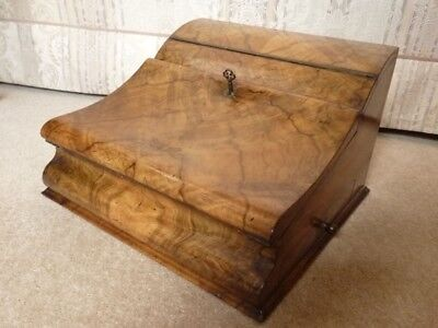 Unusual ornate burr walnut leathered writing box with stationary section & draw