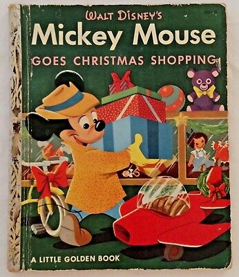 1953 Golden Book First Edition Disney Mickey Mouse Christmas Shopping Lot A724
