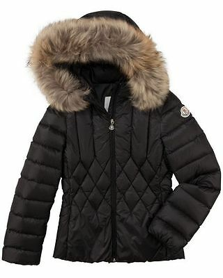NWT Moncler Adanna Diamond Quilted Puffer Coat Jacket Hooded collar fox fur down