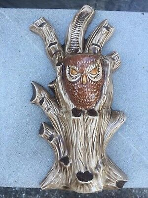Vintage 1960s Unique Pottery Hand painted Angry Owl in Tree Branches Wall Pocket