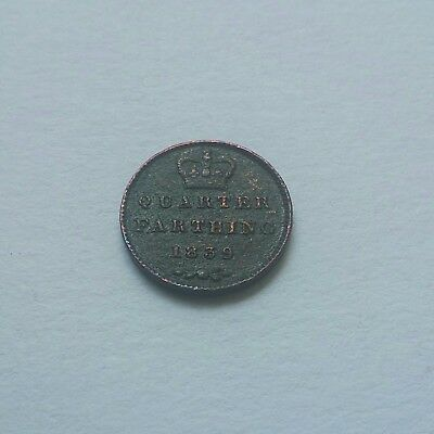 Vintage Queen Victoria  Very Old Coin Of Quarter Farthing 1839