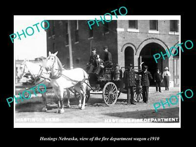 OLD LARGE HISTORIC PHOTO OF HASTINGS NEBRASKA, THE FIRE DEPARTMENT WAGON c1910