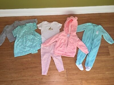 Carters 9M 9 months Baby Girls Pink Turquoise Lot Winter Spring Terry Dress PJs