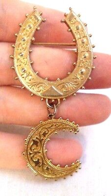 """Stunning Vintage Estate Gold Tone Designed Lucky Horseshoe Moon 3"""" Brooch! 8162A"""