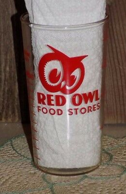 "Vtg AnTiQue RED OWL Food STores Measuring DrinKing 4"" GLASS 8 oz TabLespoons &oz"