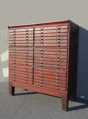 Antique vintage Shaw Walker 36 drawer map case cabinet very nice