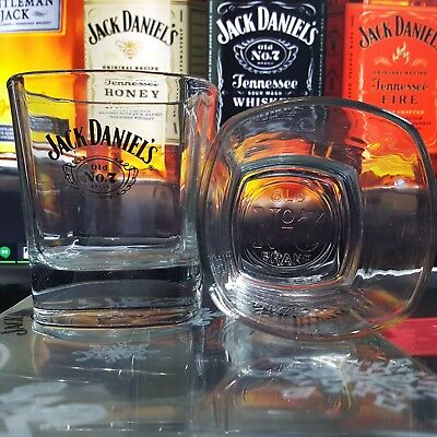 Jack Daniel's Old No 7 Whiskey Rocks Glass w/ the Old No. 7  logo  (set of 2)