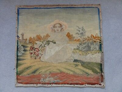 Antique 19Th Century Embroidery + Cross Stitch - Young Lady