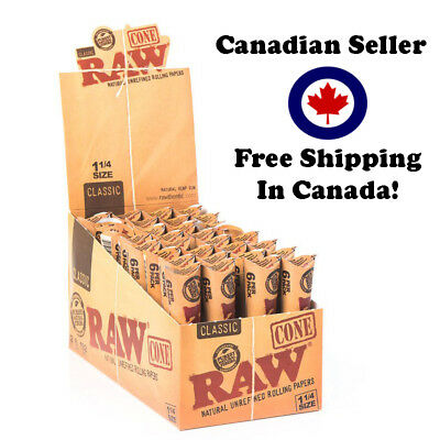 Raw Cone 1/4 Size - 32 packs of 6 Cones - 192 Cones per Box - Authentic - Canada