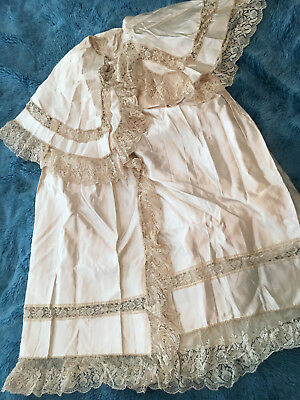 ANTIQUE 19TH C VICTORIAN SILK SATIN + LACE CHRISTENING INFANT GOWN l.40""