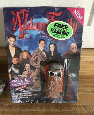 Vintage Addams Family Cereal W/ Cousin It Flashlight -Sealed Box, Ralston 1991