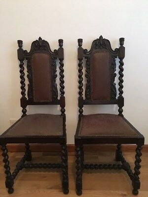 Set (6)  Antique  dark walnut chairs