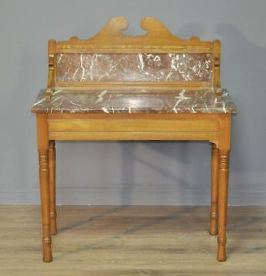 Attractive Antique Victorian Ash Marble Top Washstand Dressing Table