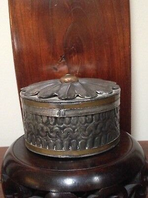 Rare Old Silver PLATED BRASS/TIN? Round Box MEXICO-Estate Collectibles