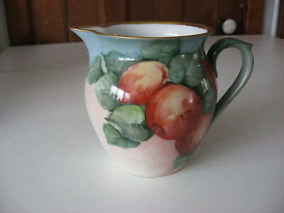 Painted China Pitcher Apples Ida Upton Paige Early 20Th C