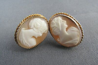Vintage Art Deco Large Gold Tone Carved Cameo Screwback Earrings 6.8G