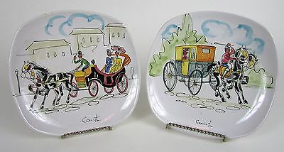 """Vintage Pair of 7"""" Inch Hand Painted ITALY Salad Plates w/ Horse & Carriage"""