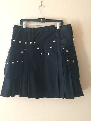 "UTILIKILT black .Made by Utilikilts waist tagged 38 "" utility kilt"